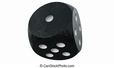 Dice in black color on white