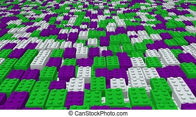 Abstract toy blocks in green,purple and white