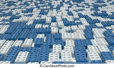 Abstract toy blocks in blue and whi