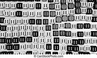 Abstract dice in black and white