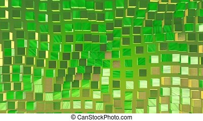 Abstract cubes in green and gold
