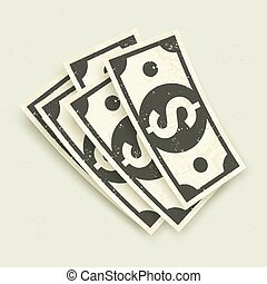 Paper bank notes, money signs on grey, vector illustration