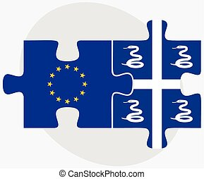 European Union and Martinique Flags in puzzle isolated on...