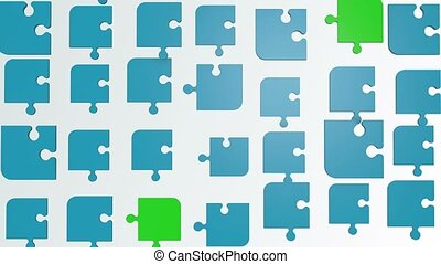 Abstract puzzle pieces in blue and green