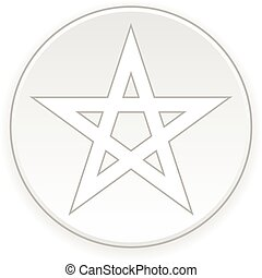 Pentagram button - Pentagram button on white background...