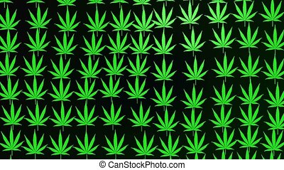Abstract cannabis leaves on dark