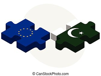 European Union and Pakistan Flags in puzzle isolated on...