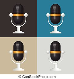 3D Microphone icon, classic microphone symbol on color...