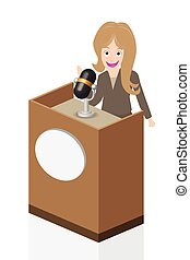 Business woman speaking on stage with microphone and podium,...