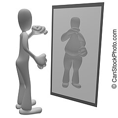 Fat person looking in mirror - Thin cartoon person looking...