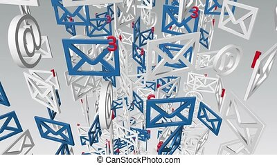 Blue and white rotating envelopes icons on white