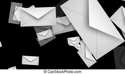 Flying envelopes in white color