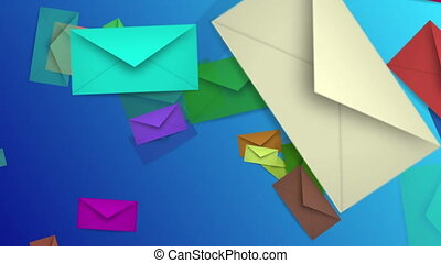 Flying envelopes in various colors