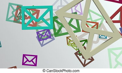 Flying envelopes icons in various color