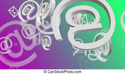 Flying envelopes icons on green and purple