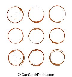 Coffee stain circles - Vector collection of coffee stain...