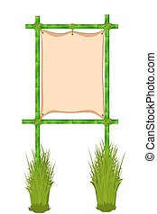 Bamboo frame. Vector illustration isolated on white...