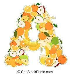 Letter - A made of fruits. Vector illustration