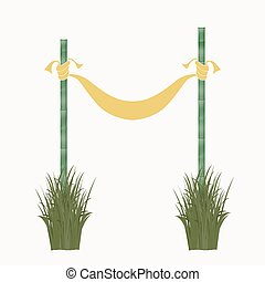 Signboard of the fabric and bamboo sticks. Vector...