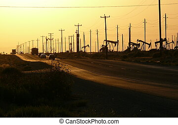 Oil Field Highway 2 - truck on california highway...