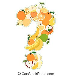 Question mark made of fruits. Vector illustration