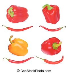 Photo-realistic vector Set of Sweet Peppers