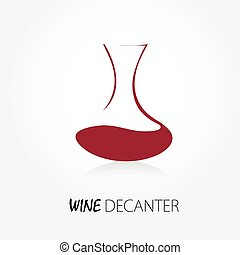 Abstract decanter sign with red wine. Wine shop logo.