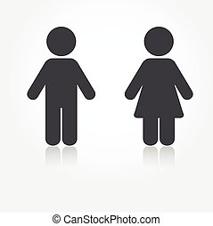 Grey vector man and woman icons with shadows Illustration...