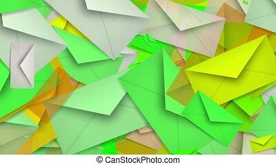 Envelopes in green color