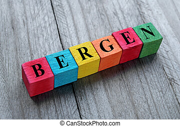 word Bergen on colorful wooden cubes