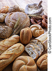 Breads - different Breads on wood background
