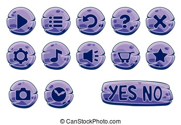 Set of purple stone round buttons, vector game icons