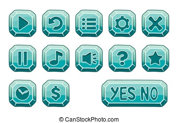 Set of blue ice square buttons, vector game icons
