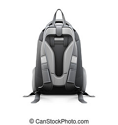 Backpack back view isolated on white background 3d...