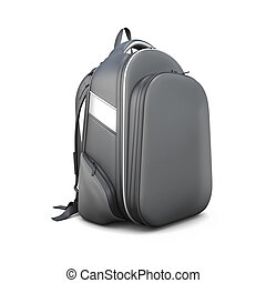 Black backpack isolated on white background 3d illustration...