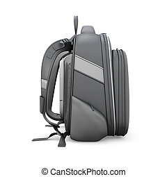 Black backpack side view isolated on white background 3d...