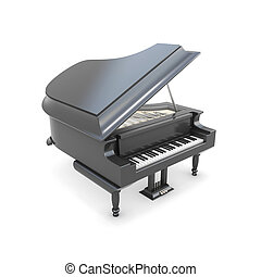 Black grand piano on a white - Black grand piano isolated on...