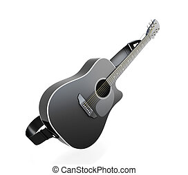 Black guitar isolated on white background 3d render image