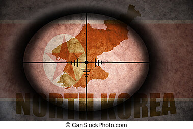 sniper scope aimed at the vintage north korea flag and map