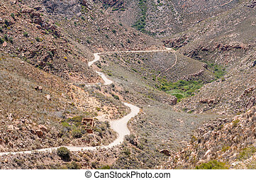 Ruins of the Blikstasie old jail in the Swartberg Pass -...
