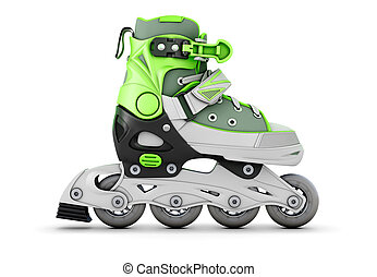 Green roller skate side view isolated on white background 3d...