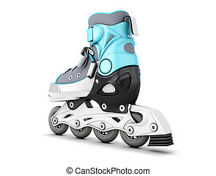 One roller skate isolated on white background 3d...