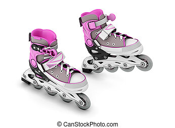 Pair of roller skates isolated on white background 3d...