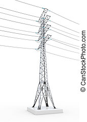 Power line isolated on white background 3d illustration