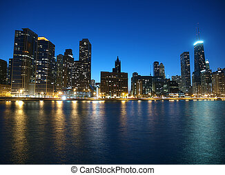 Chicago Illinois - Chicago and Lake Michigan shoreline with...