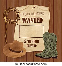 Cowboy poster. Wild west background for your design. Cowboy elements set.