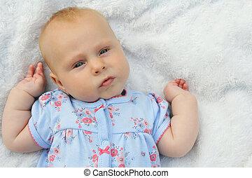 Sweet Chubby Newborn Baby Girl - A serious and chubby baby...