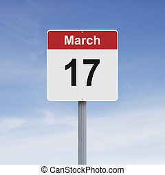 March Seventeen - Modified road sign indicating March 17