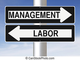 Management or Labor - Modified one way signs indicating...