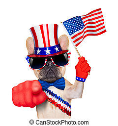 4th oh july dog - french bulldog waving a flag of usa on...